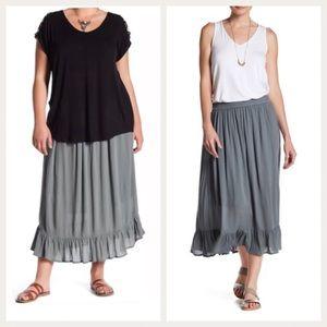 Bobeau Ruffle Hem Gauze Skirt Olive Size 3X